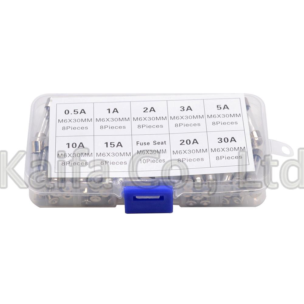 120pcs//Box Quick Blow Glass Tube Fuses Assorted Kits Fast-blow 5A-30A 6x30mm US