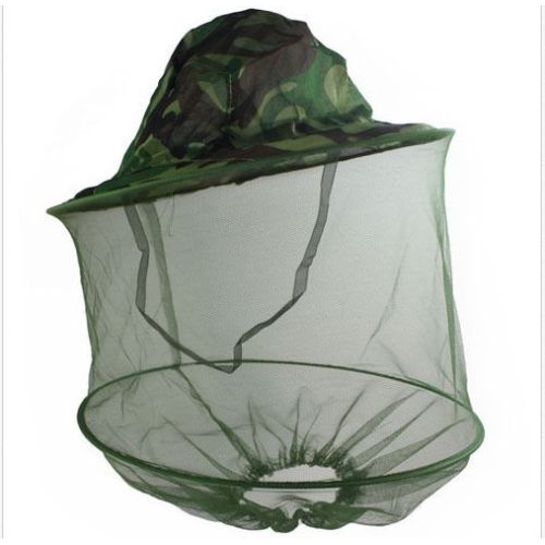 Anti Mosquito Mesh Head Face Protection Fishing Mask Hat Leaves Camouflage