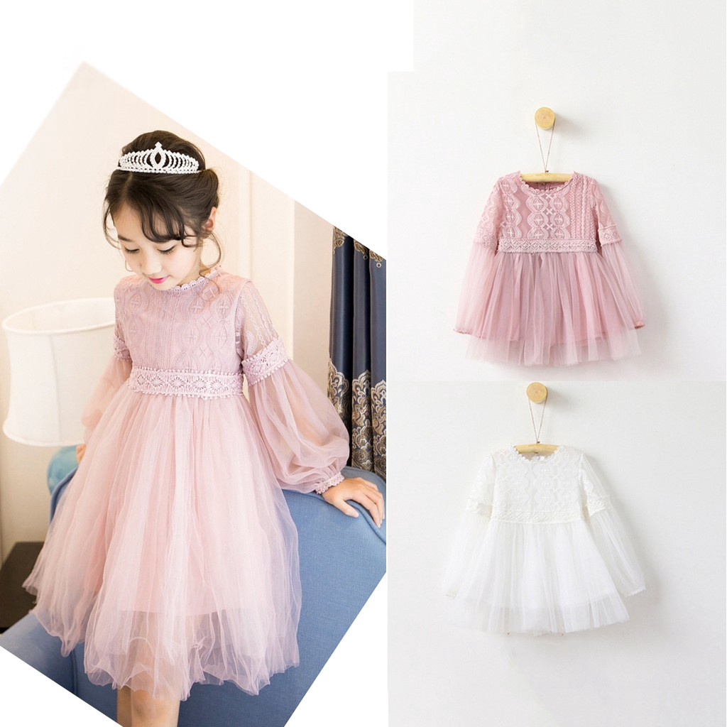 Outique Toddler Clothes Kids Baby Girls Ruffle Solid Linen Elegant Princess Party Dress with Puff Sleeve