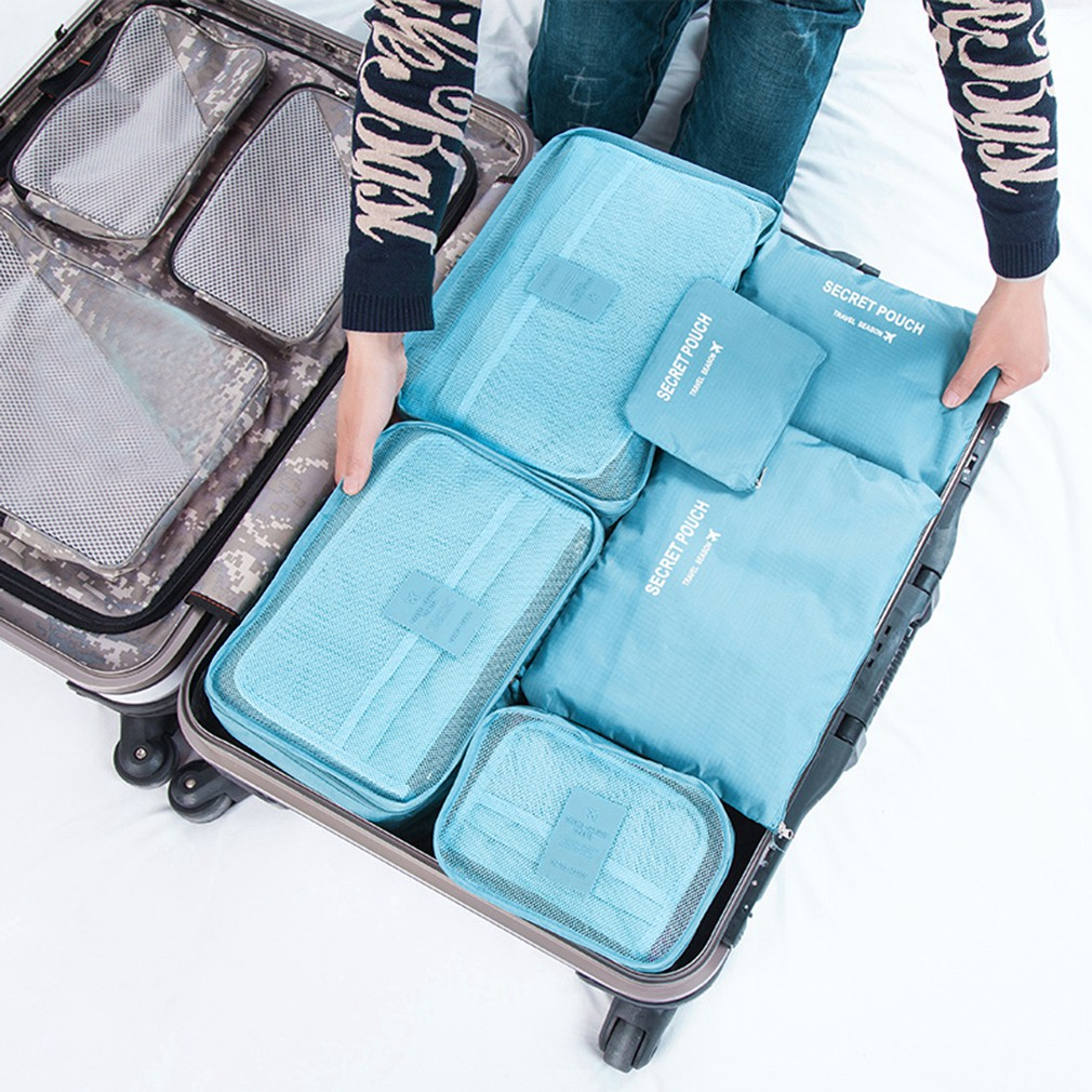 Diniwell Clothes Storage Packing Travel Luggage Organizer Bag [6 in 1] | Shopee Singapore