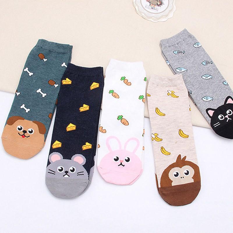 Fashion Women Lovely Cute Cat Socks Animal Cartoon Cotton Socks Wy