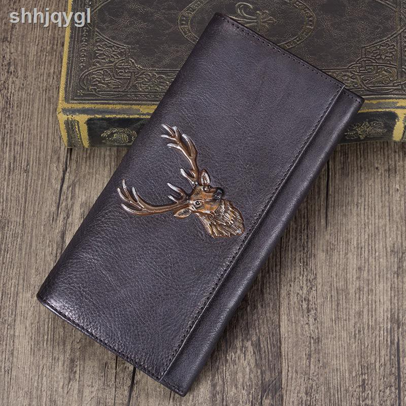Real leather eagle head layer cowhide  Long men/'s Wallet Card Holder