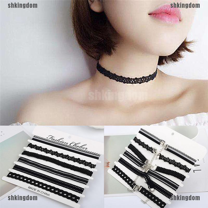 6pcs Boho Lady/'s Charm Chocker Stretch  Gothic Lace Choker Vintage Necklace JKU