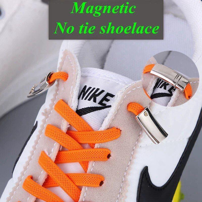 Magnetic Lazy Laces Shoe Laces No Tie Flat Shoelaces Elastic Sneakers Kids Hot