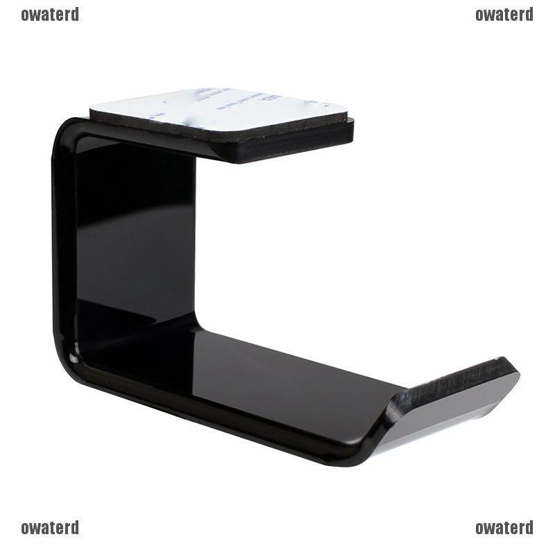 Acrylic Headphone Stand Hanger Holder Hook Tape Under Desk Dual Headset Mount