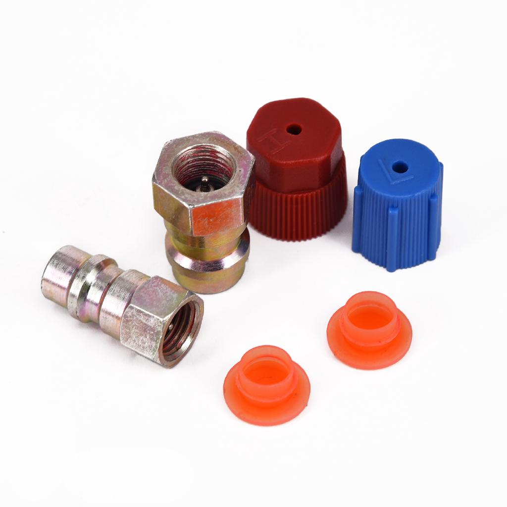 A//C R-12 to R-134a Retrofit Conversion Adapter Fitting 1//4 SAE Valves Kit