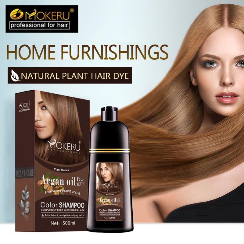 Mokeru Brown hair color dye shampoo 500ml with argan oil essence