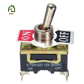 10pcs E-TEN1021 SPST 2Pin Car Boat 15A 250V ON/OFF Rocker Toggle Switch  Industrial Switch