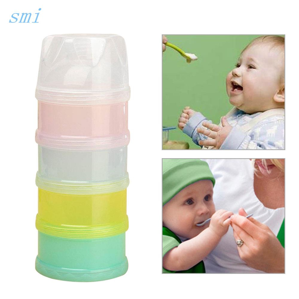 4 Layers Milk Powder Case Dispenser Travel Kids Baby Infant Feeding Container