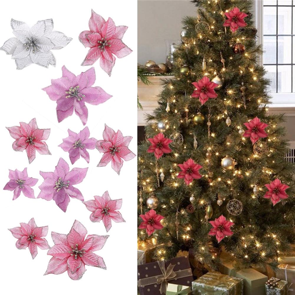 10pcs Christmas Tree Fake Diy Home Party Decor Wedding Glitter Poinsettia Artificial Flowers Shopee Singapore
