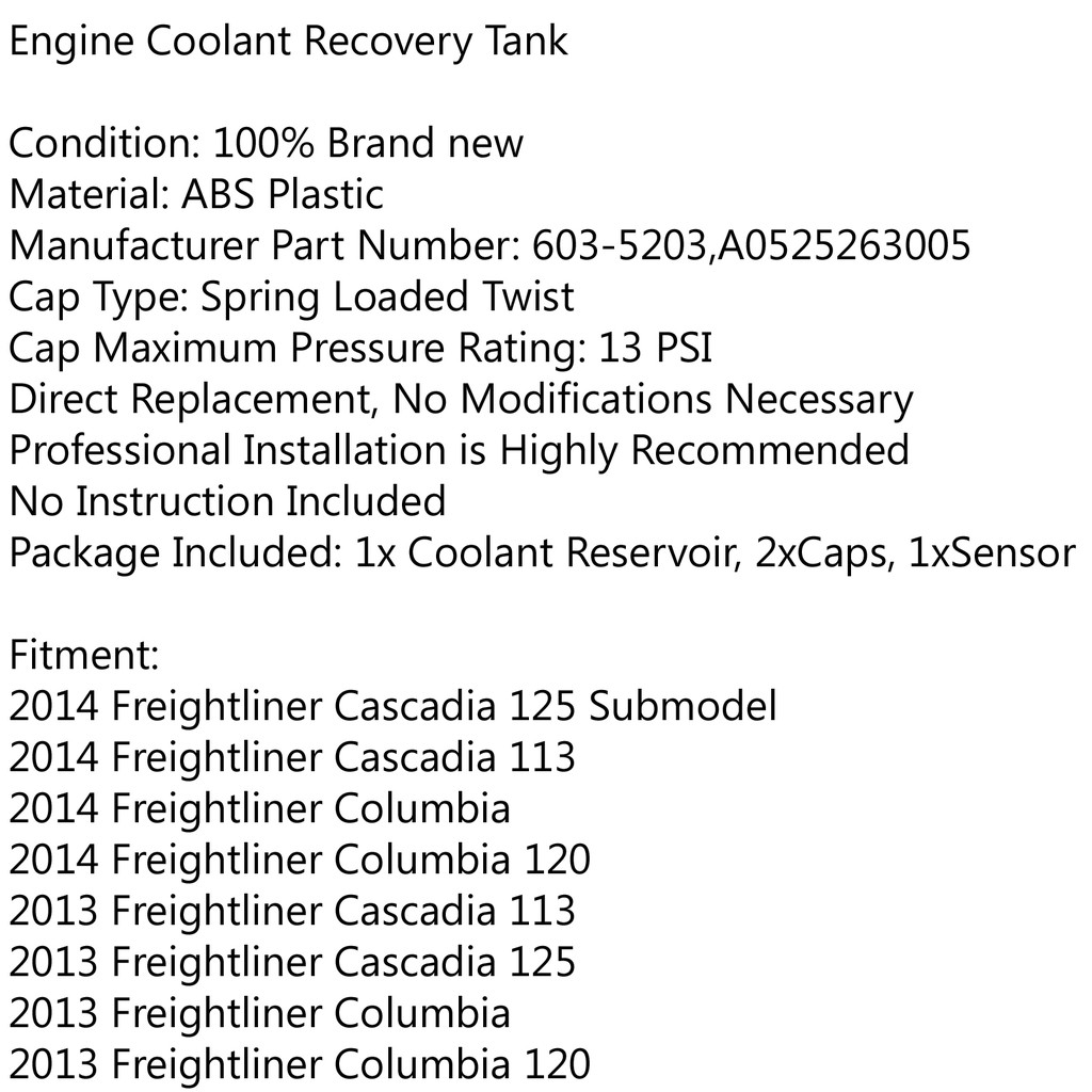 Areyourshop Coolant Tank Reservoir Fit for Freightliner Cascadia Columbia A0525263005