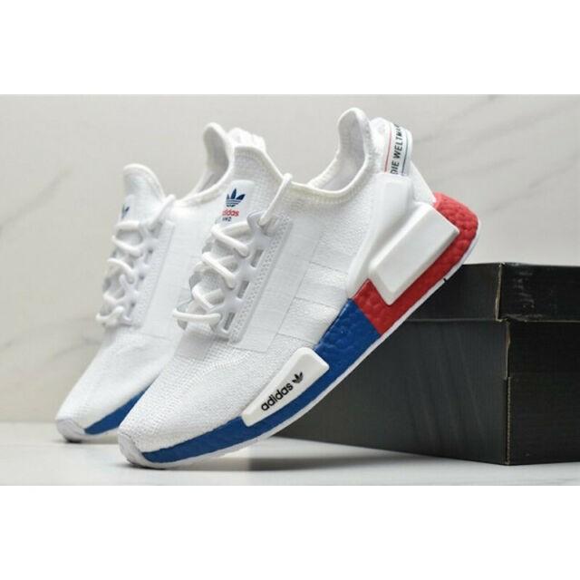 Adidas Nmd R1 V2 Crystal White Lush Red Premium Quality Shopee