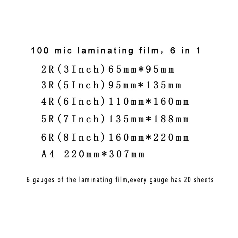 "6 Sizes Thermal Laminating Film PET+EVA 3/"" 5/"" 6/"" 7/"" 8/"" /& A4 100 mic"