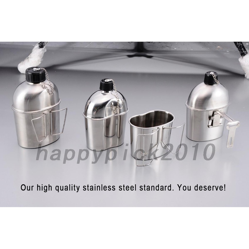 Military Stainless Steel Canteen 1L//1.2L// With Green Cover Hot Hiking Camping