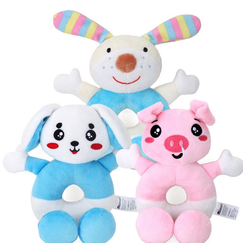 Baby Cartoon Animal Rattle Newborn Hand Grasp Toys Soft Plush Infant Crib Doll Z
