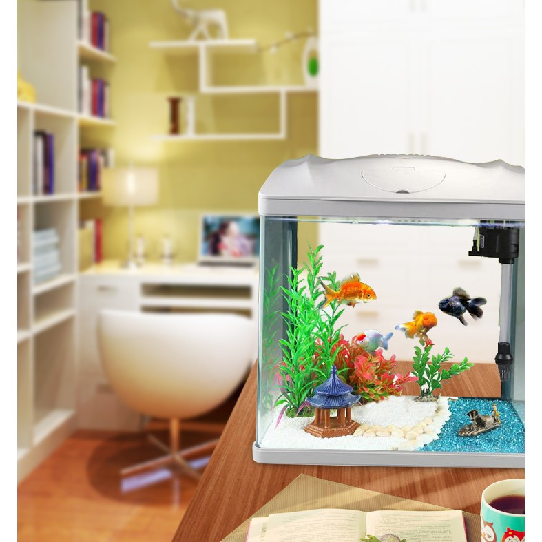 Lazy Fish tank Mini Household Glass Tank Living Room Small ...