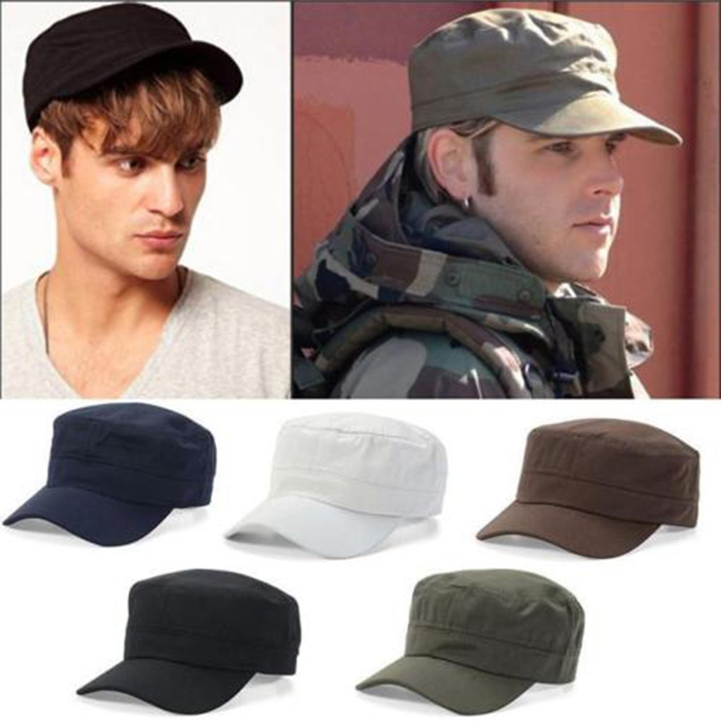 Vintage Women Men Classic Army Hat Cadet Military Plain Baseball Cap Adjustable