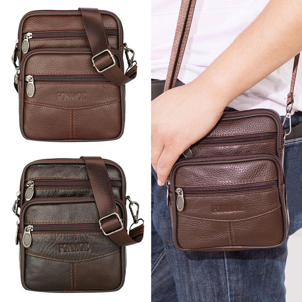 Men Genuine Leather Shoulder Waist Bags Fanny Belt Packs Casual Crossbody Bags