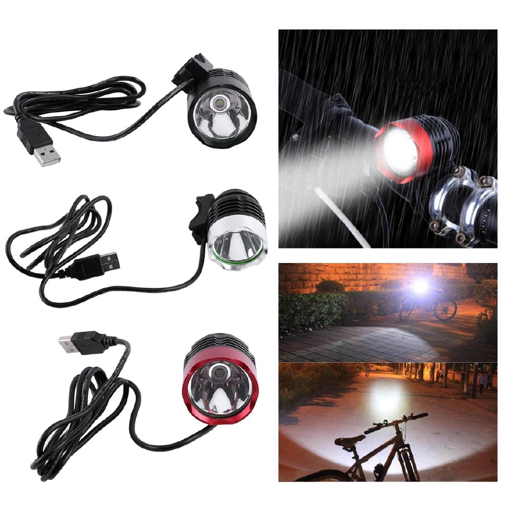 USB LED Bicycle Headlight Bike Headlamp Cycling Front Light Two Rubber Rings