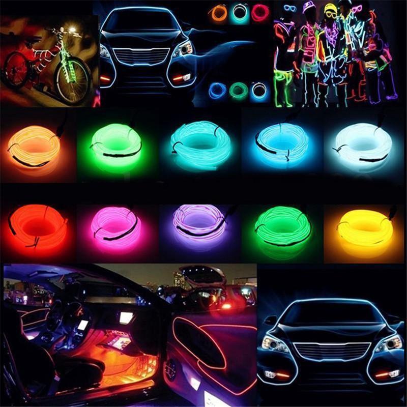 Daytime Lighting EL Strip Lights Neon Car Interior Lighting 2 m Crystal Blue