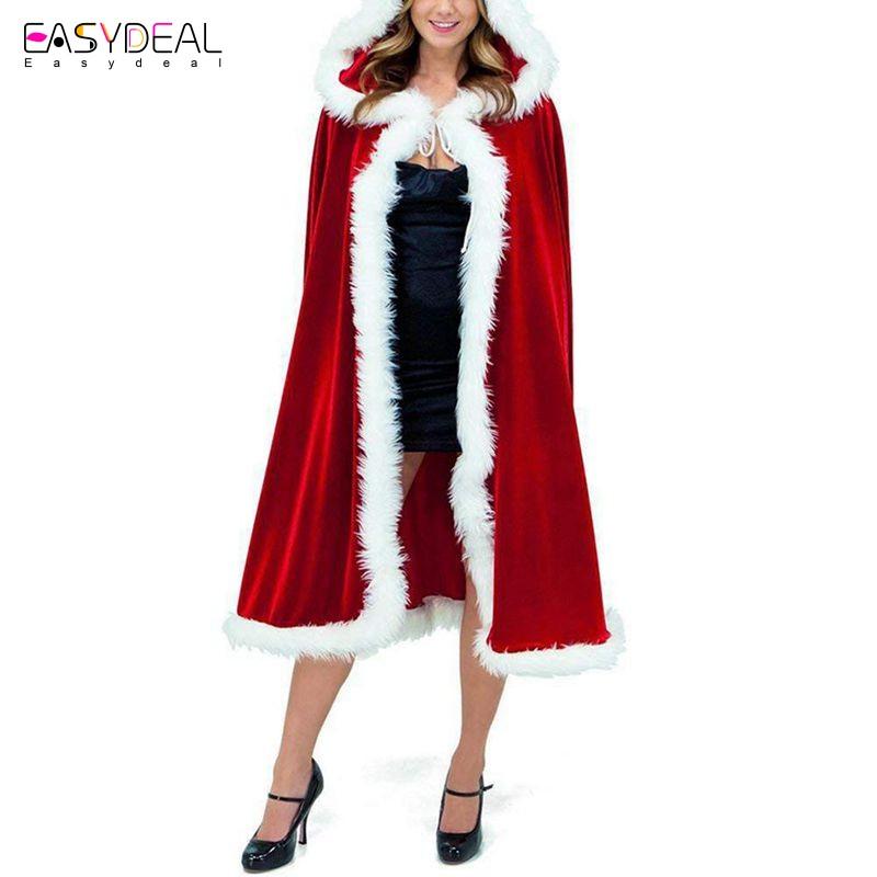 Women Girl Cloak Family Matching Christmas Hooded Cape Santa Coat Red Dress