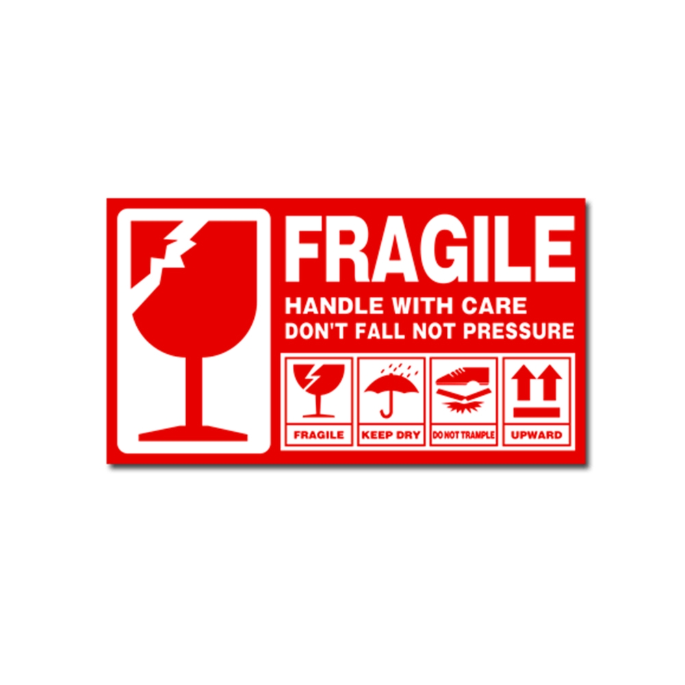Self-adhesive Label Sticker Red White Fragile Handle With