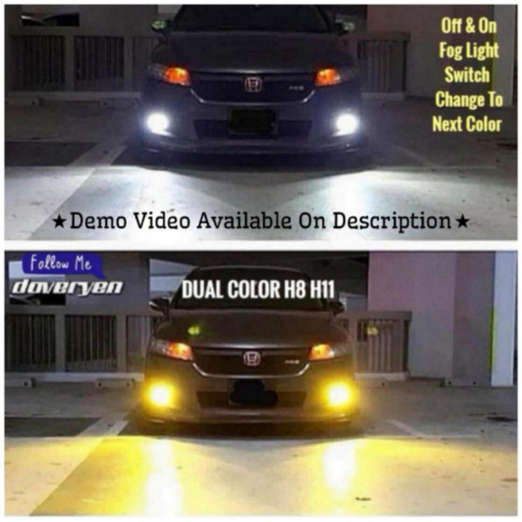 Dual Color White Yellow H8 H11 H16 Led Fog Light Bulb Hiace Nv Vezel Stream Wish Civic Vellfire Shuttle Ex Camry