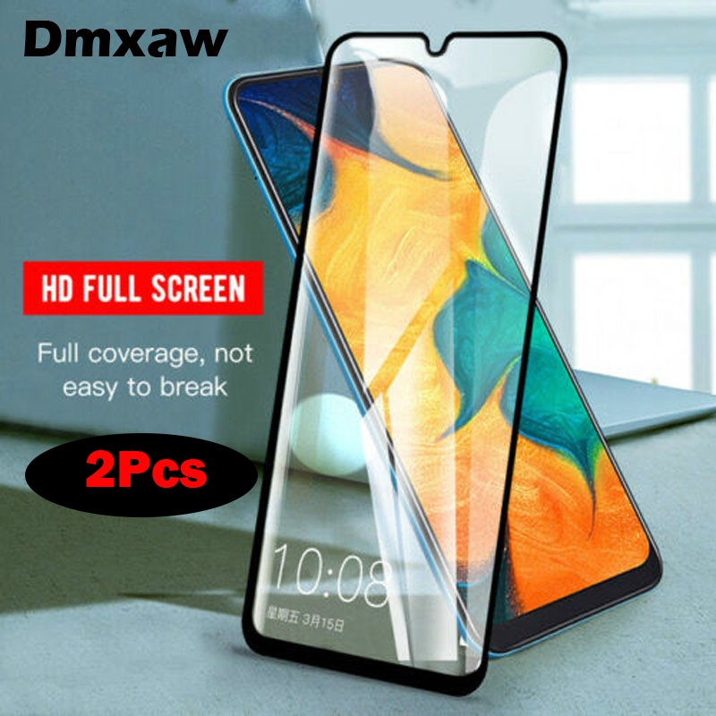2Pcs Samsung Galaxy M30 M10 M20 A70 A30 A50 A40 A20 A10 Tempered Glass Full  Glue
