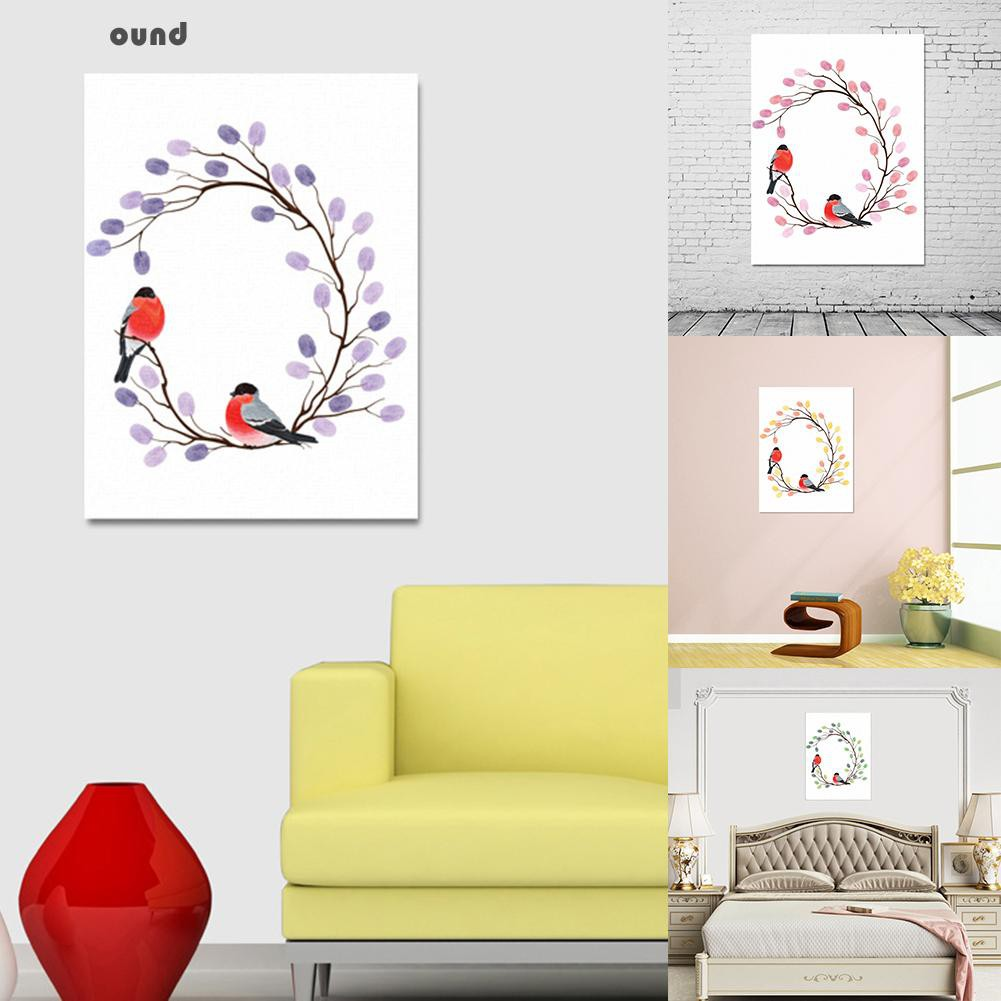 RoundWedding Guest Book Fingerprint Branch Canvas Painting DIY Wall ...