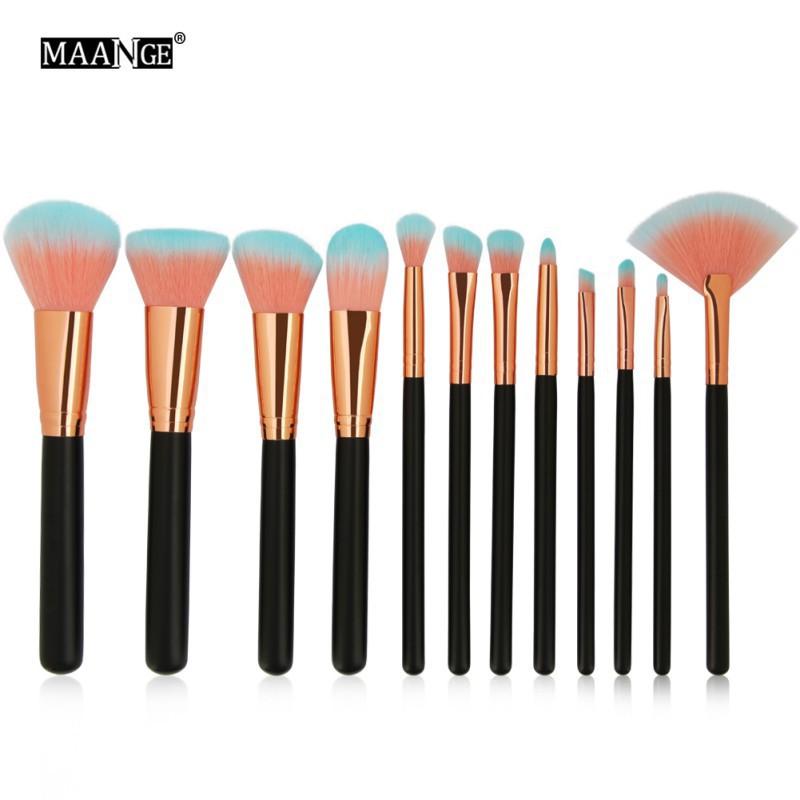 12pcs Beauty Cosmetic Brush Set Mocha