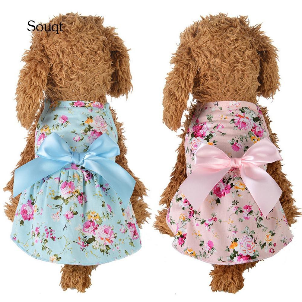 08372a6b2a6be SQ_Spring Summer Flower Print Cotton Cute Pet Dress Cat Dog Costume Outfit  Clothes