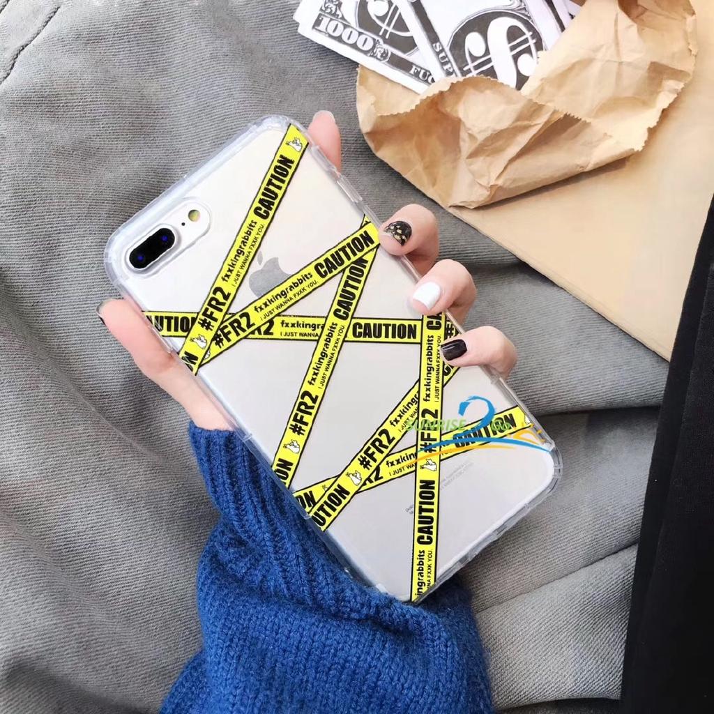 FR2 Yellow Stripes Transparent Case XS Max 7 + 6s X / I6 Plus 8 Xr Case