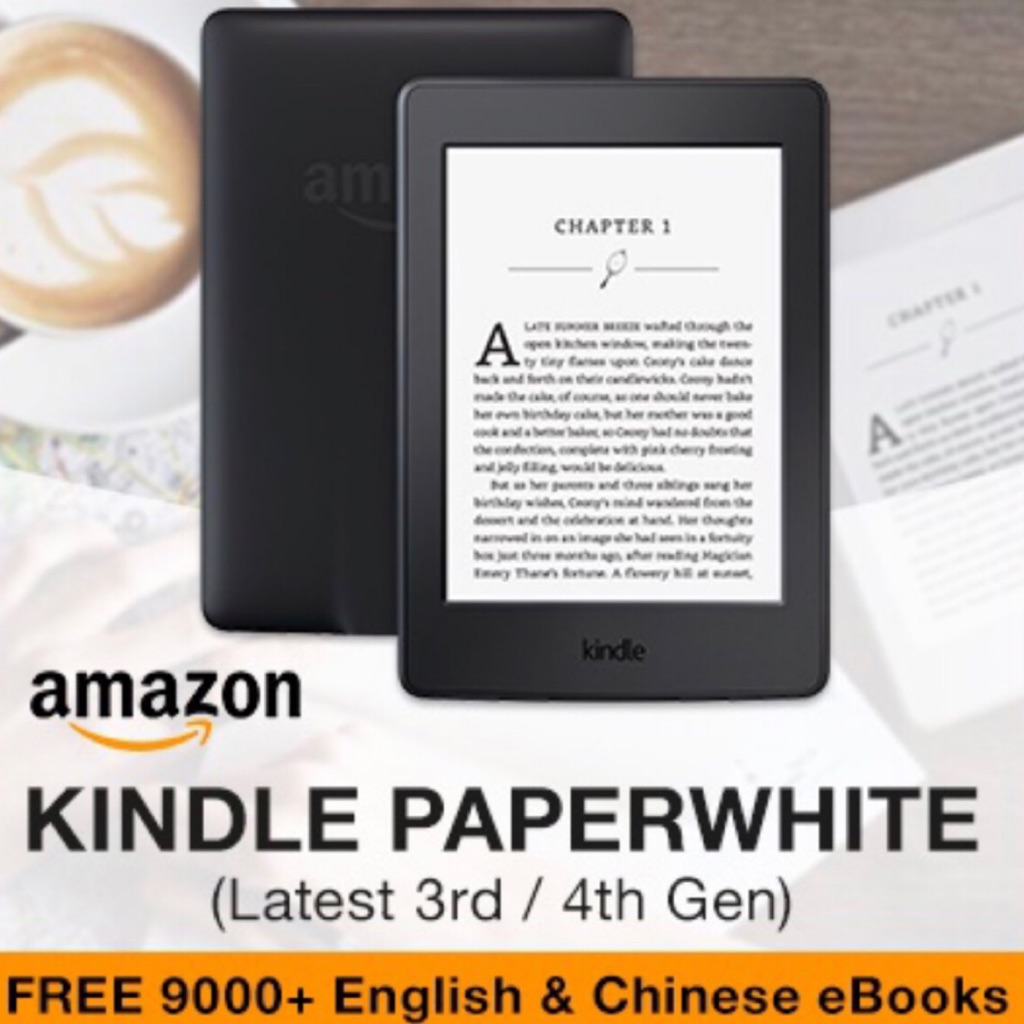 Latest Amazon Kindle Paperwhite Gen 4 (2019) & Paperwhite Gen 3 (2016) ~  Free 9000 Eng/Chi eBooks, Scn Protector + Pouch