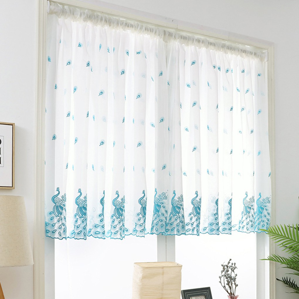 Short Window Sheer Curtains Valance Living Room Feather
