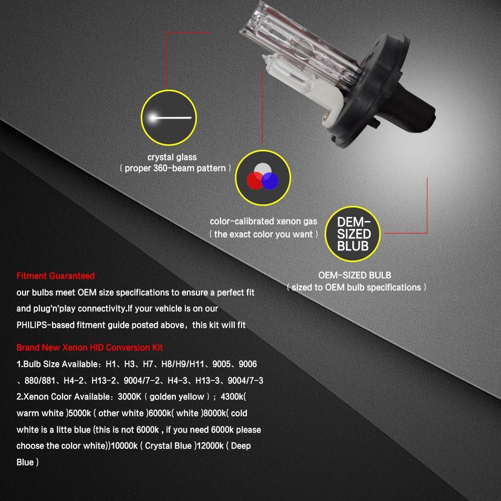 Xenon HID Conversion Kit 6000K 8000k 10000k 12000k H1 H3 H4 H7 H8 H9 H10 H11 H13