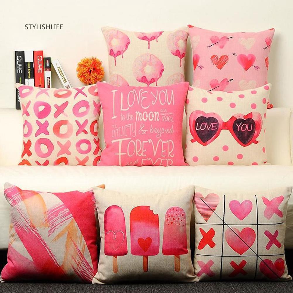 Cat Moon Pattern Cotton Linen Pillow Case Cushion Cover Waist Cover Home Decor