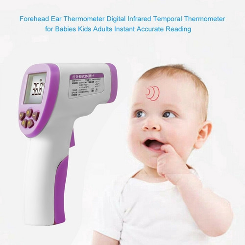 Medical Forehead and Ear Forehead Thermometer Digital Infrared Temporal Thermometer for Fever Non-contact LCD Instant Accurate Reading for Baby Kids and Adults Green