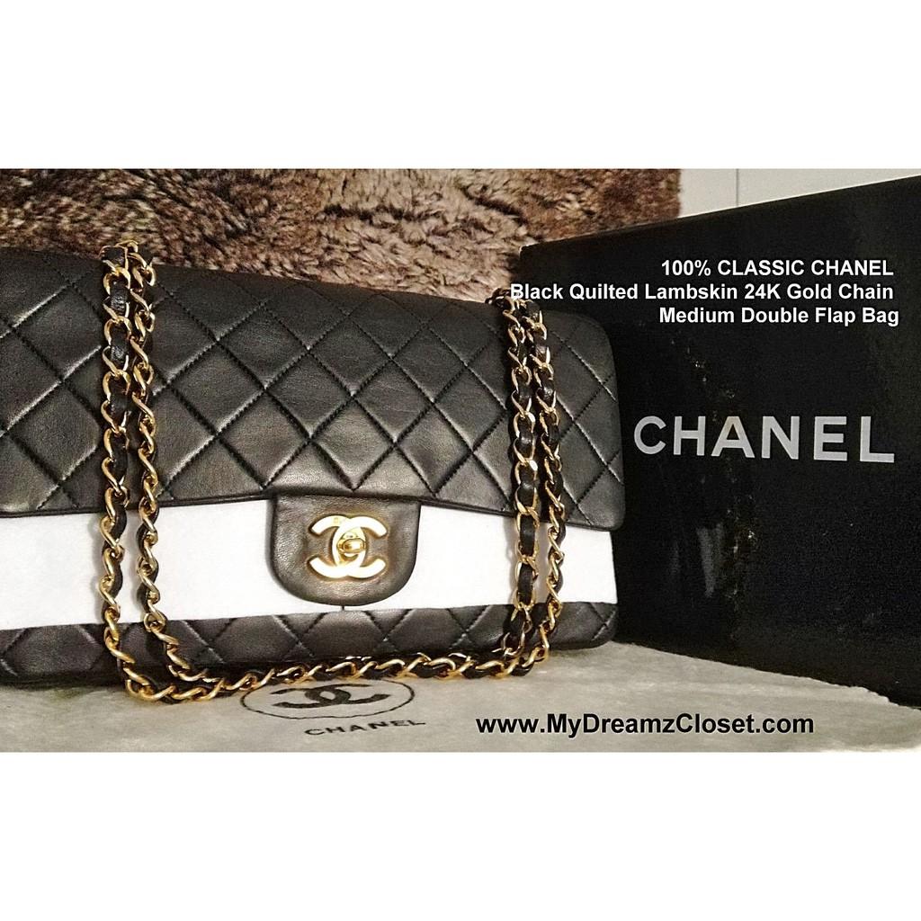 8f794442da98 100% CLASSIC CHANEL Black Quilted Lambskin 24K Gold Chain Medium Double Flap  Bag | Shopee Singapore
