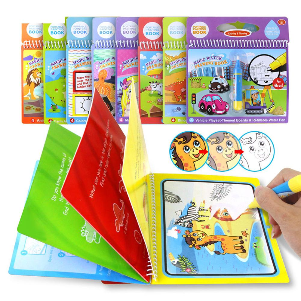 Magic Drawing Book Coloring Toys Doodle Kids Painting Board Writing Water