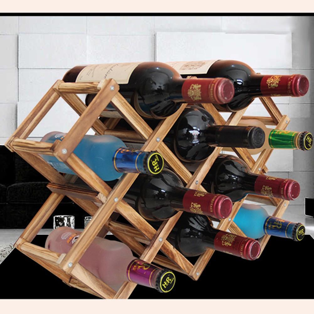 Wooden Red Wine Rack 10 Bottle Holder Mount Kitchen Bar Wall Decor
