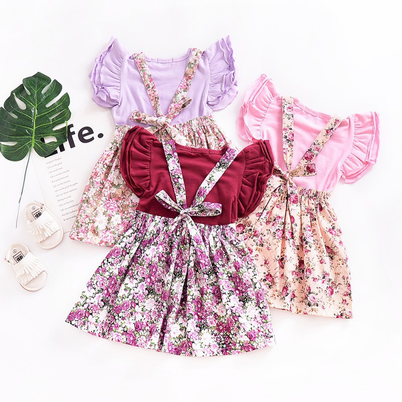 Younger star Baby Girl Floral Brace Suspender Skirt Infant Toddler Ruffled Casual Strap Sundress Summer Outfit Clothes
