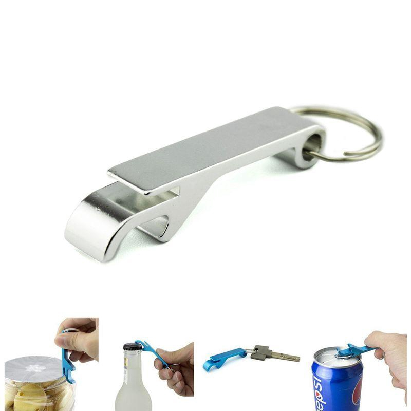 Aluminium Keychain Key Tag Chain Alloy Ring Bottle With Keyring Opener Silver