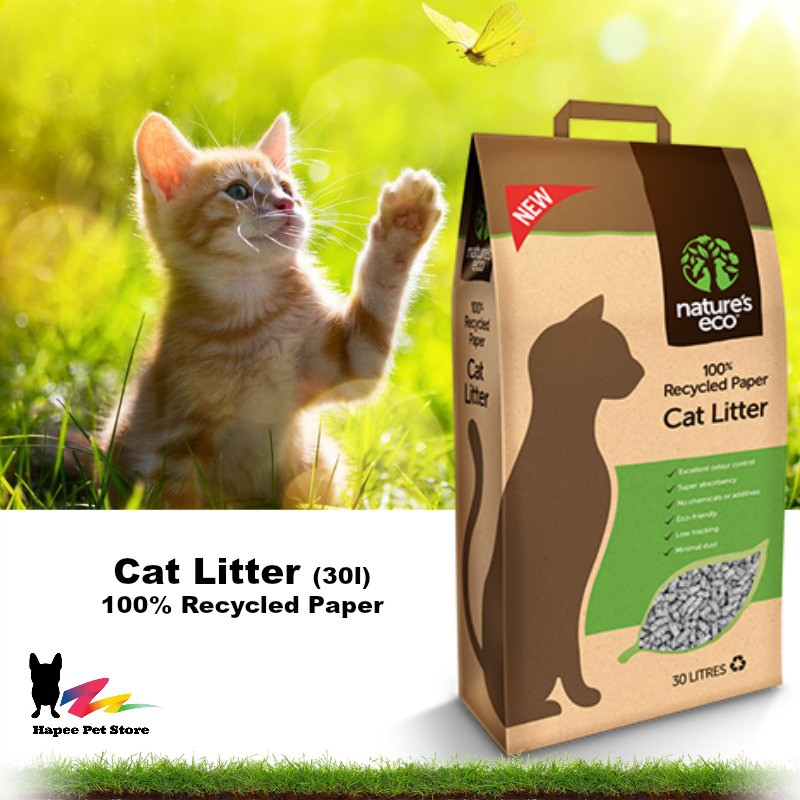 Nature's Eco 100% Recycled Paper Cat Litter (30L)