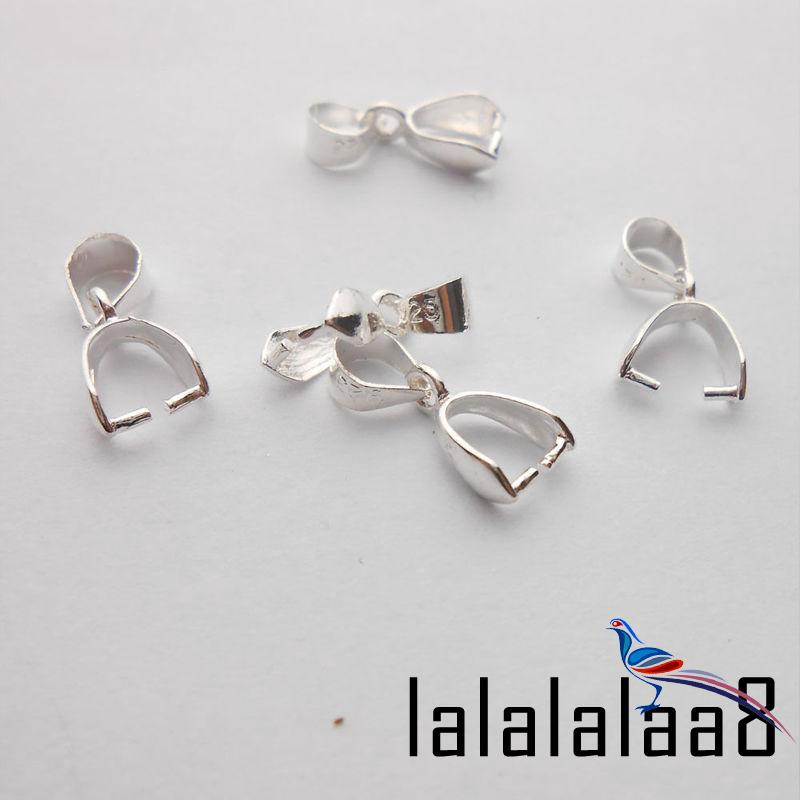 10PCS SIZE L 925 Sterling Silver Bail Connector Bale Pinch Clasp Pendant Making