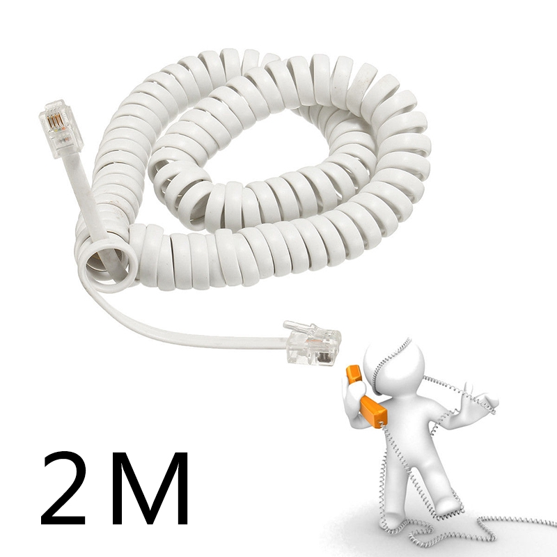 1 metre, White Replacement Telephone Handset Cords Coiled Cable