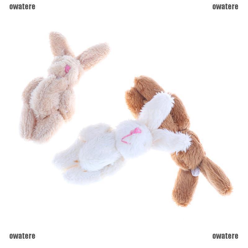 10pc 3colors Mini Joint Rabbit Pendant Plush Bunny For Key Chain Bouquet Toy OD