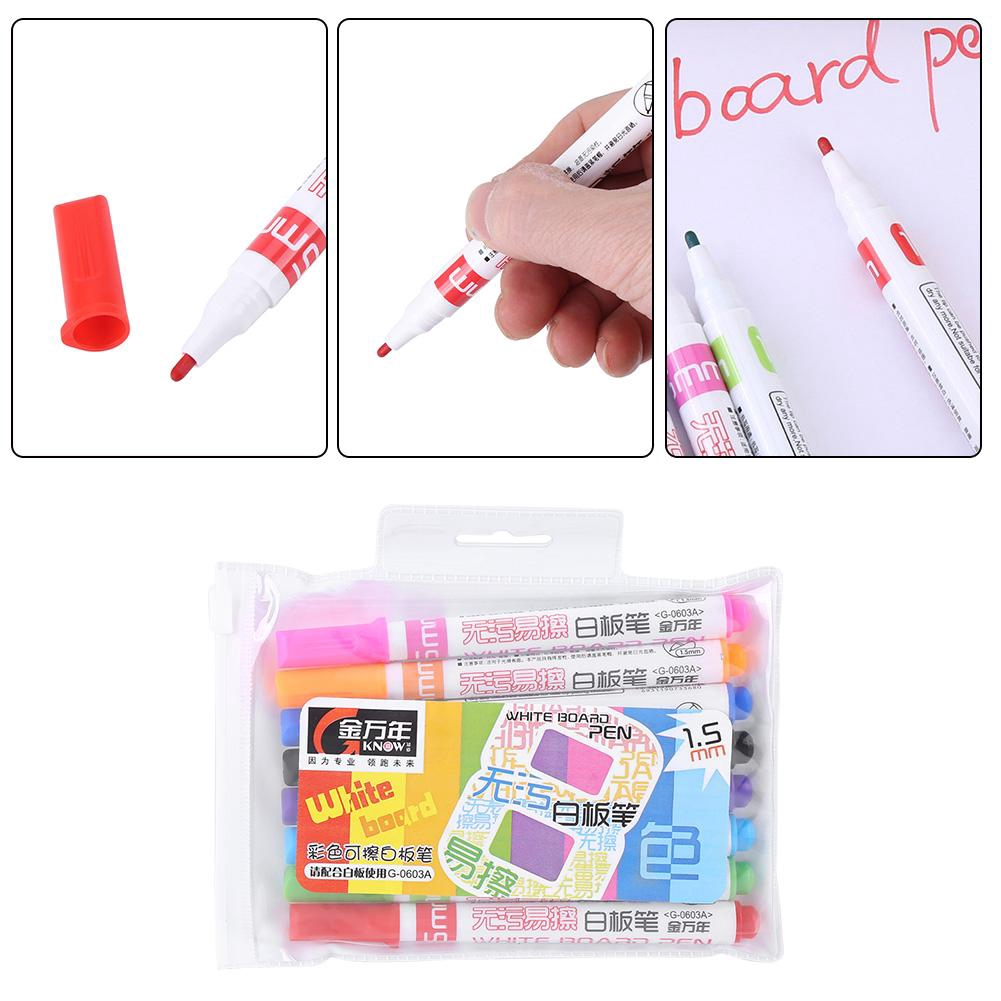 8PCS Colored Erasable Fine Tip Whiteboard Marker Pen for Kids Graffiti Painting