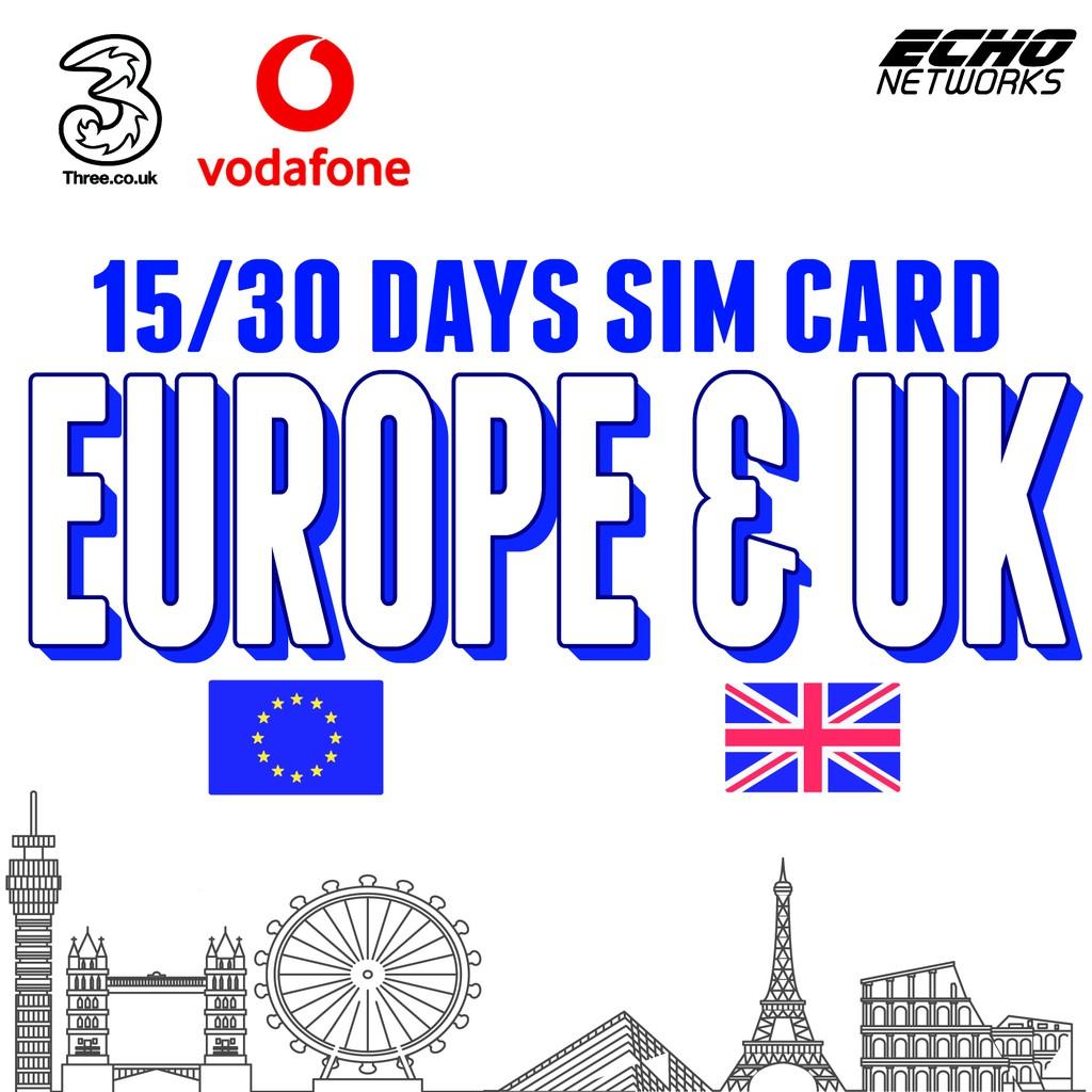 30 DAYS VODAFONE 3/10/20GB EUROPE + UK SIM CARD