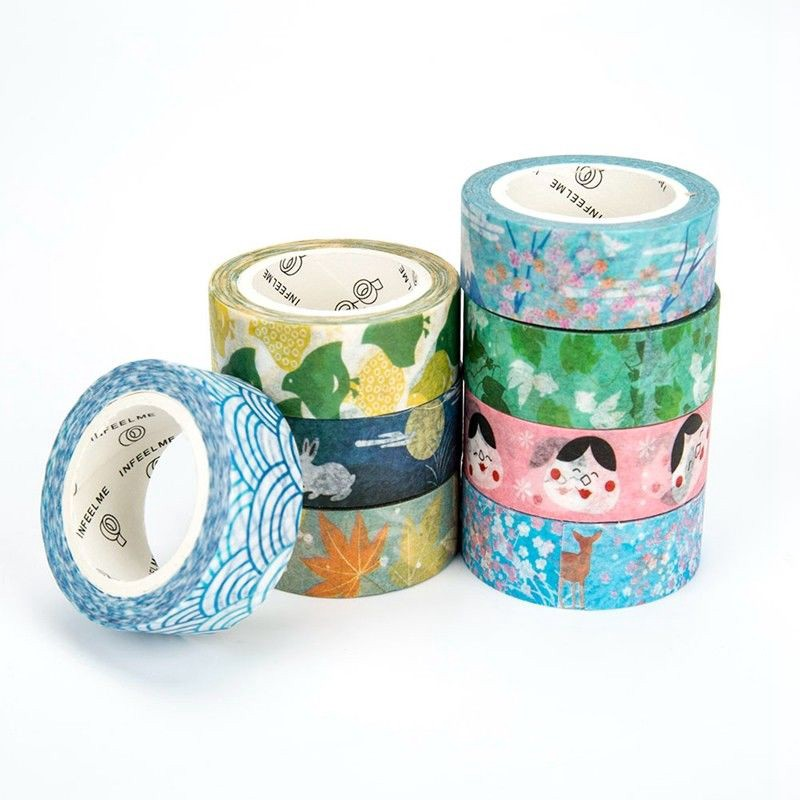 10 Rolls Cartoon Paper Sticky Adhesive Sticker Decor Washi Tapes 1.5cm DECO