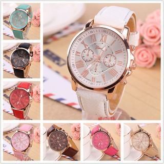 a36672e1c2c Geneva ladies gold shell beige three-eyed Roman numerals female belt watch